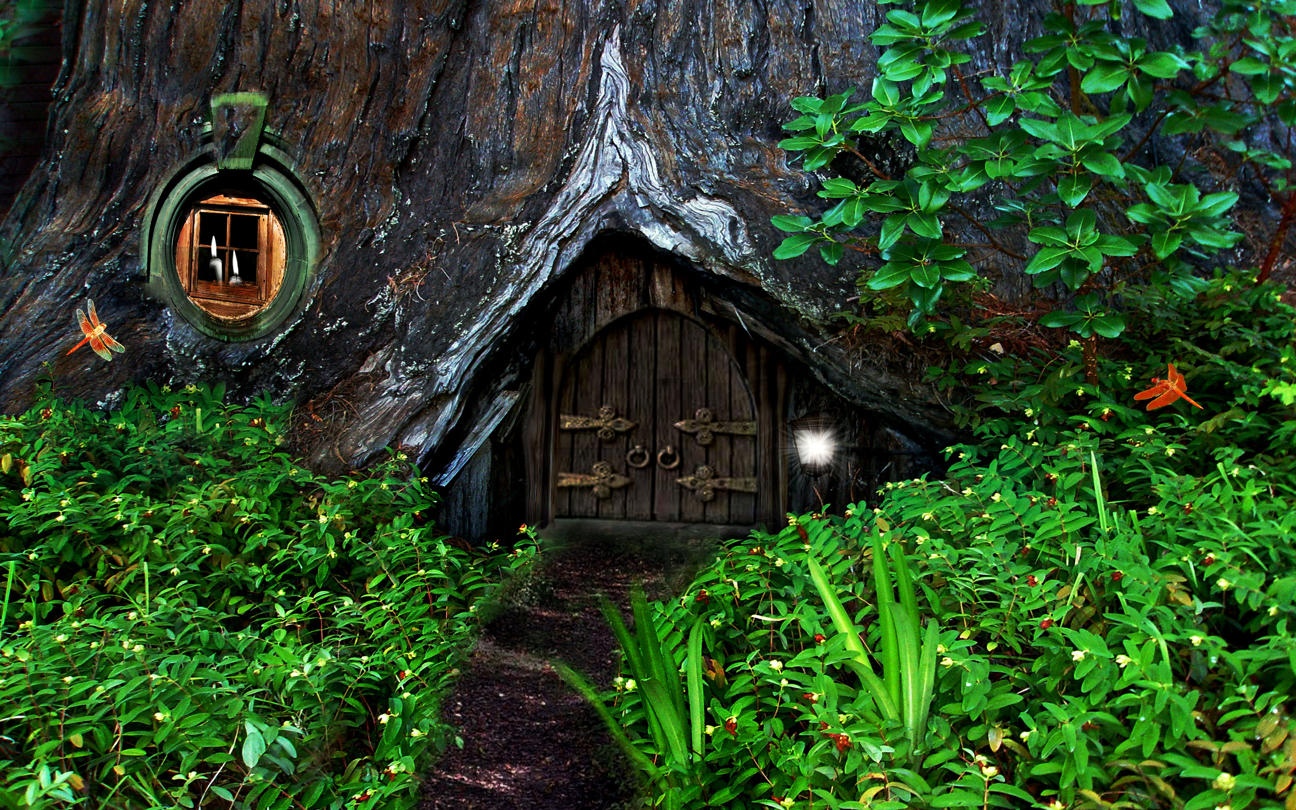 Hobbit house in the forest full hd wallpaper and for Hobbit house images