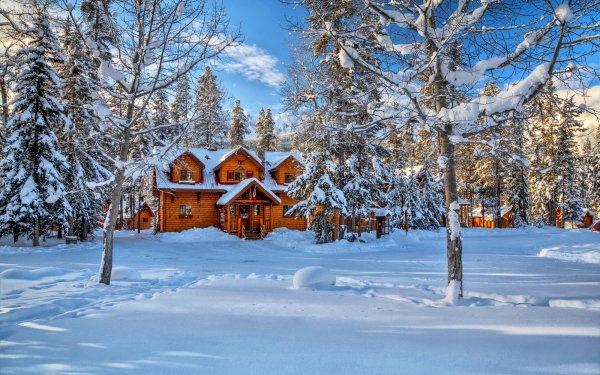 Fotografía Invierno Casa Árbol Snow Canadá Cabaña Campo Fondo de pantalla HD | Fondo de Escritorio