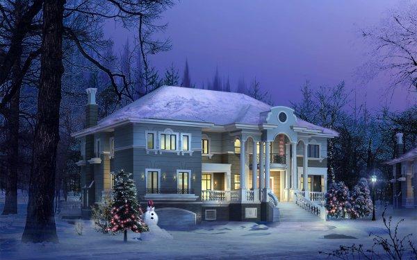Artistic House Light Christmas Lights Snowman Night Winter HD Wallpaper | Background Image