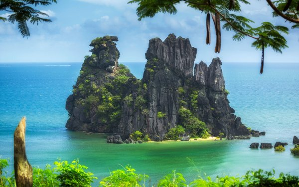 Earth Rock Ocean Cliff Blue Turquoise New Caledonia Pacific Nature HD Wallpaper | Background Image