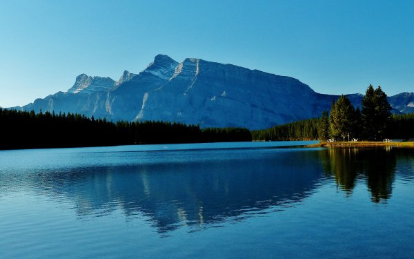 Earth Lake Lakes Banff National Park Alberta Canada Mountain Forest Nature Reflection HD Wallpaper | Background Image