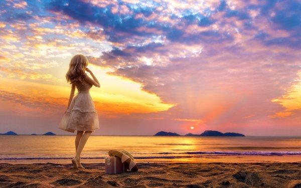 Man Made Doll Sunset Ocean Beach Sand Horizon Sky Cloud HD Wallpaper | Background Image