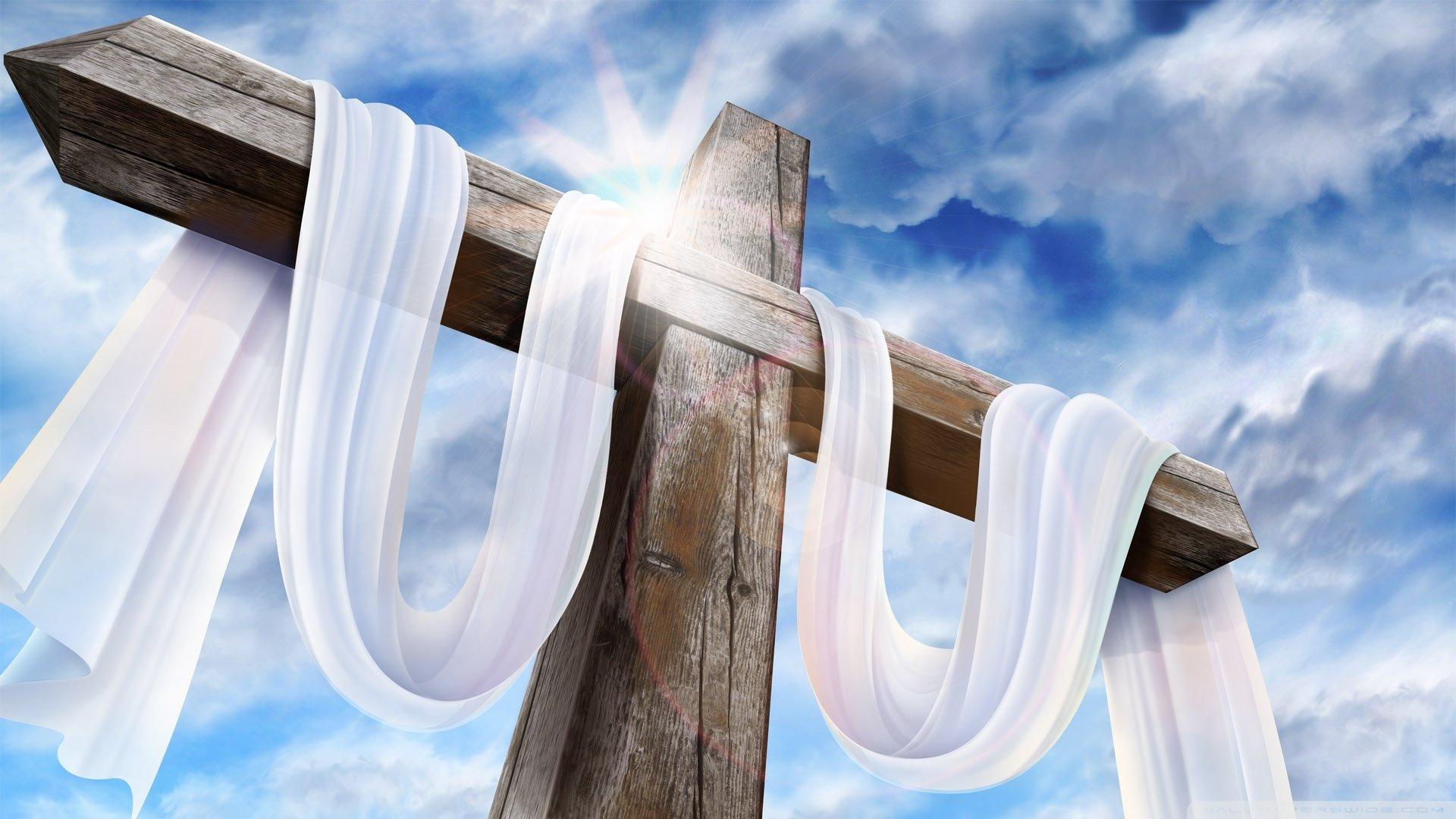 节日 - 复活节  Cross 木质 白色 天空 蓝色 宗教 基督教 壁纸