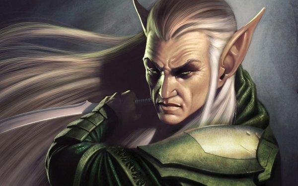 Fantasy Elf Pointed Ears Warrior Dagger White Hair HD Wallpaper   Background Image