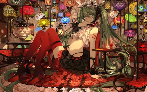 Anime Vocaloid Hatsune Miku Lantern Long Hair Green Hair Green Eyes Headband Skirt HD Wallpaper | Background Image