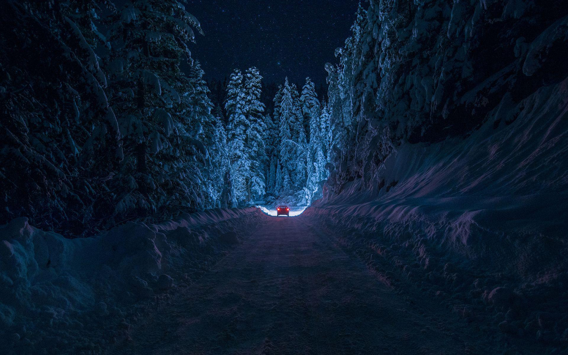 Driving On Secluded Snowy Road HD Wallpaper