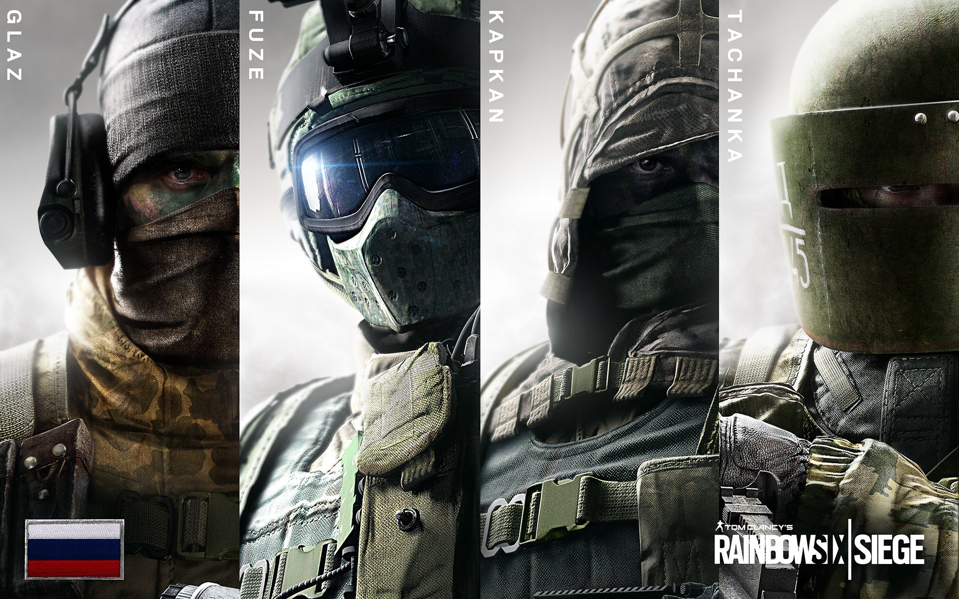 Datorspel - Tom Clancy's Rainbow Six: Siege  Rainbow Six Spetsnaz Special Forces Fuze (Tom Clancy's Rainbow Six: Siege) Glaz (Tom Clancy's Rainbow Six: Siege) Kapkan (Tom Clancy's Rainbow Six: Siege) Tachanka (Tom Clancy's Rainbow Six: Siege) Bakgrund
