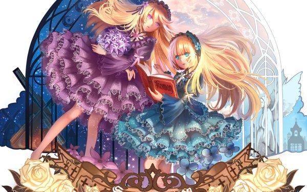Anime Sound Horizon Girl Purple Eyes Long Hair Blonde Headband Aqua Eyes Dress Book HD Wallpaper   Background Image
