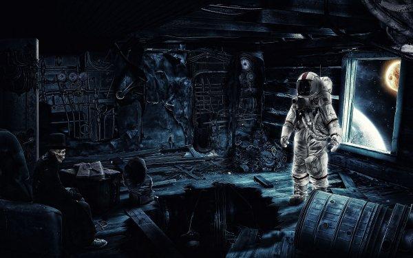 Sci Fi Astronaut Dark Skeleton Space Suit HD Wallpaper | Background Image