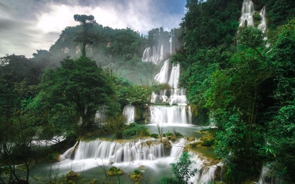 Earth Waterfall Waterfalls Forest Rainforest Thailand Nature Greenery HD Wallpaper | Background Image