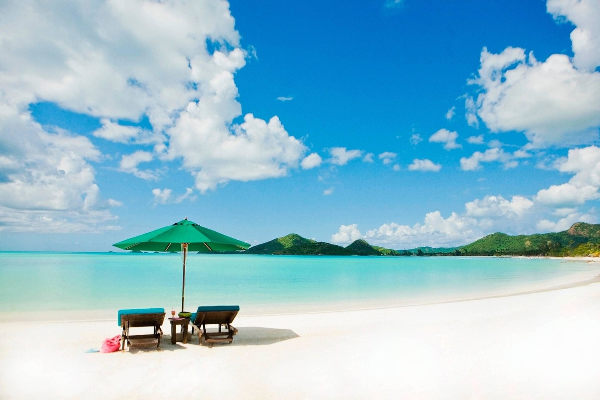 Earth - Beach  Umbrella Chair Turquoise Mountain Ocean Earth Wallpaper