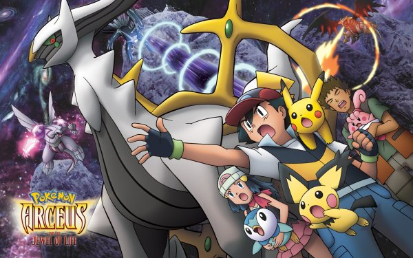 Anime Pokémon: Arceus And The Jewel Of Life Pokémon Arceus Giratina Dialga Happiny Piplup Ash Ketchum Brock Dawn Palkia Pichu Fond d'écran HD | Arrière-Plan
