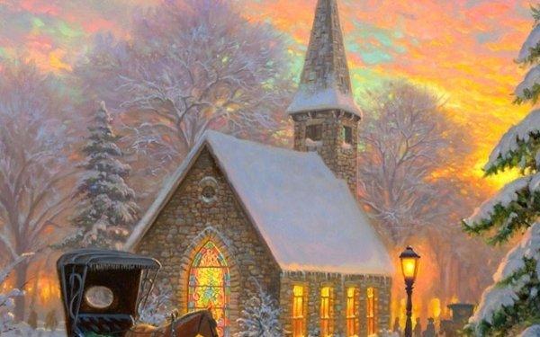 Artístico Invierno Religious Capilla Iglesia Steeple Caballo Carriage Fondo de pantalla HD | Fondo de Escritorio