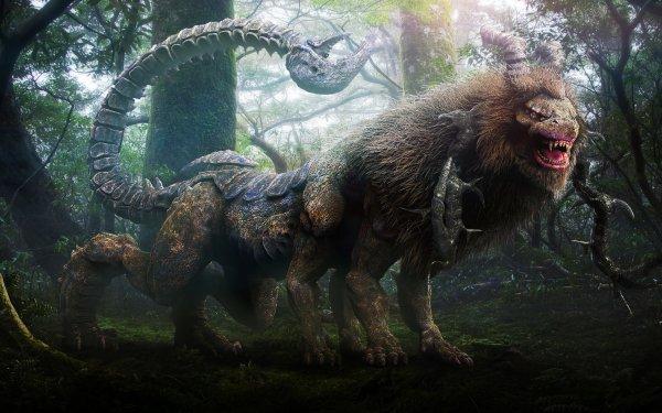 Fantaisie Chimera Animaux Fantastique Horns Tail Animaux Créature Fond d'écran HD   Arrière-Plan