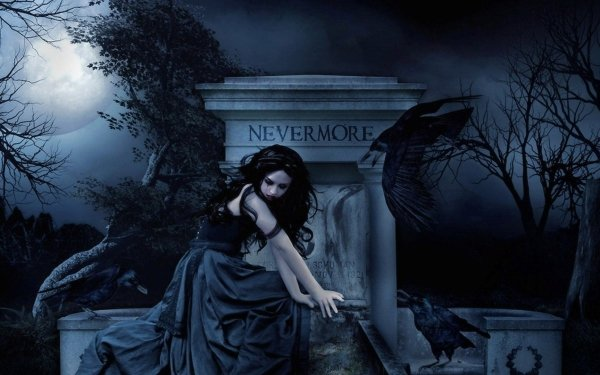Fantasy Dark Gothic Black Hair Gravestone Raven Moon HD Wallpaper | Background Image