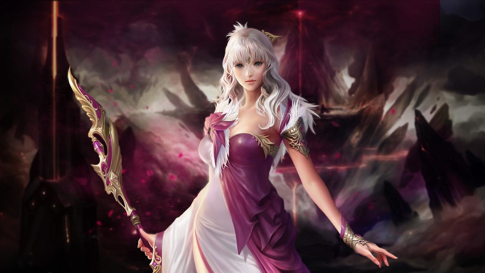 Fantasy - Witch  Staff Purple Sword White Hair Girl Woman Blue Eyes Sorceress Fantasy Wallpaper