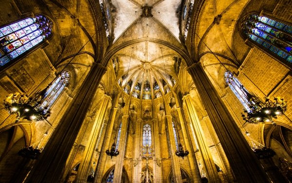Religious Barcelona Cathedral Barcelona Spain Arch Stained Glass Architecture Cathedral HD Wallpaper   Background Image