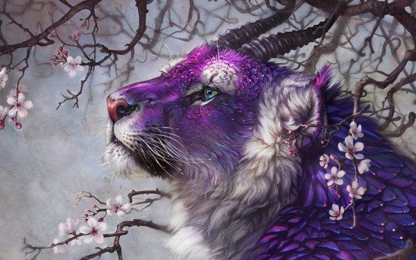 Fantaisie Lion Animaux Fantastique Big Cat Pourpre Close-Up Cherry Blossom Branche Fond d'écran HD | Arrière-Plan