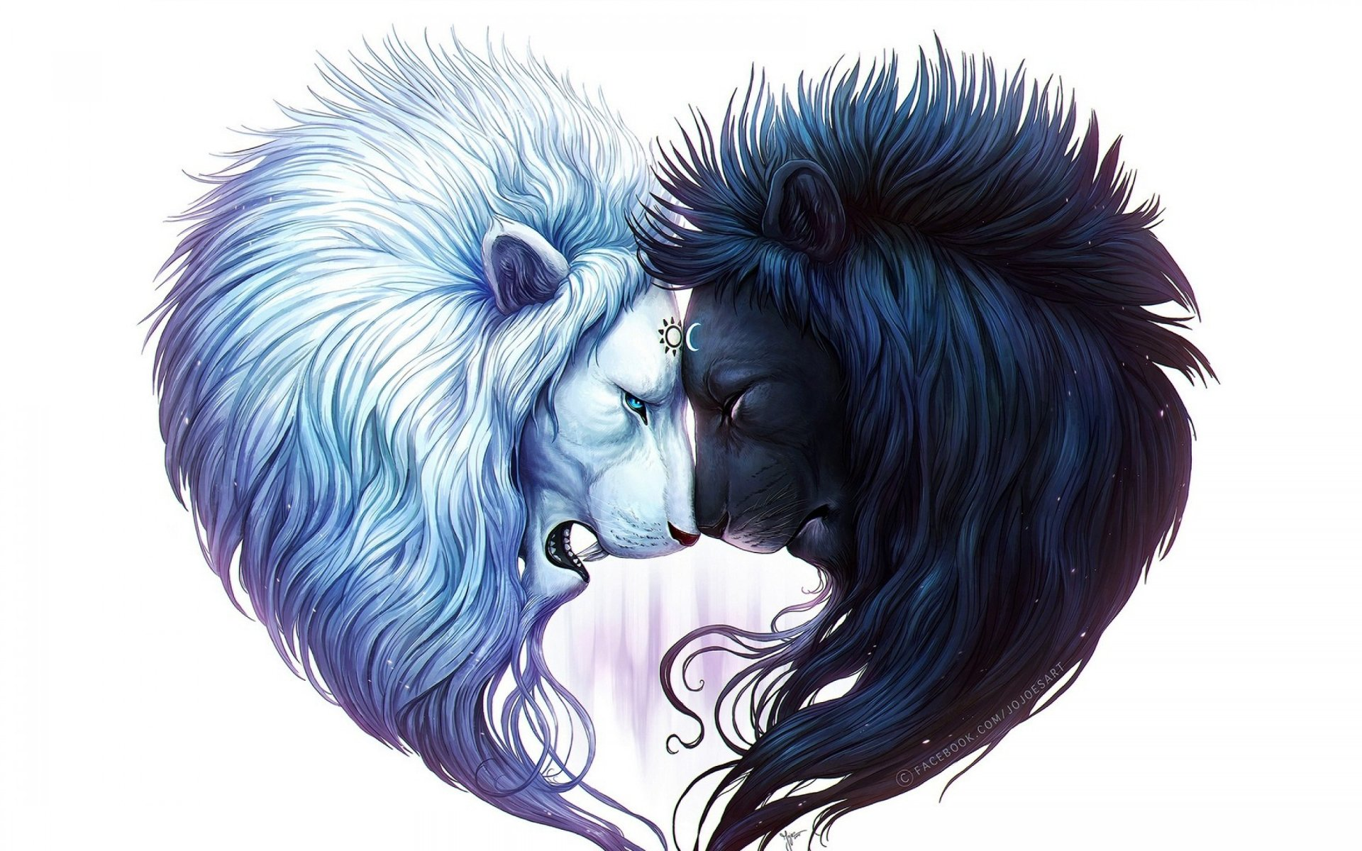 Animal - Lion  Artistic Black White Black & White Yin & Yang Wallpaper