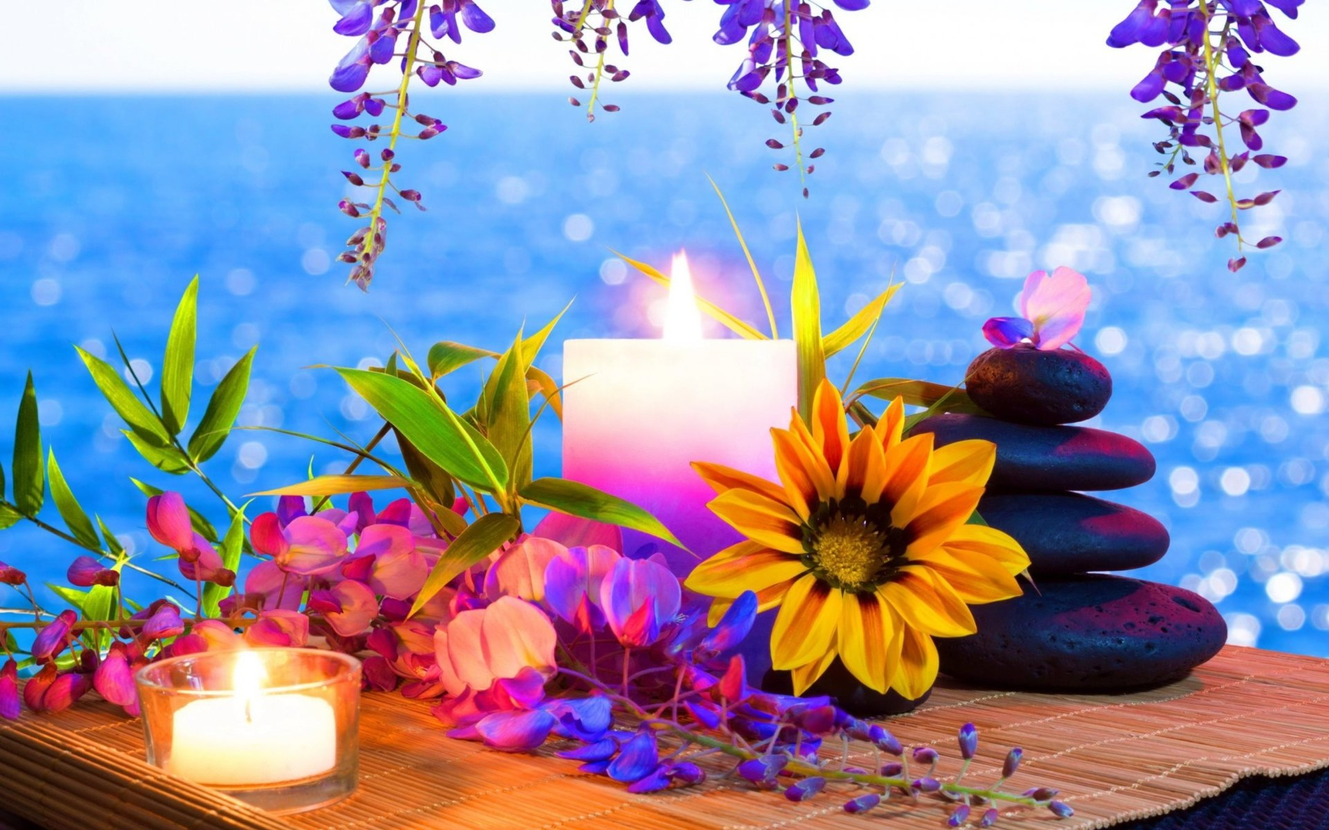 Photography - Still Life  Artistic Yellow Flower Floral Flower Stone Candle Wallpaper