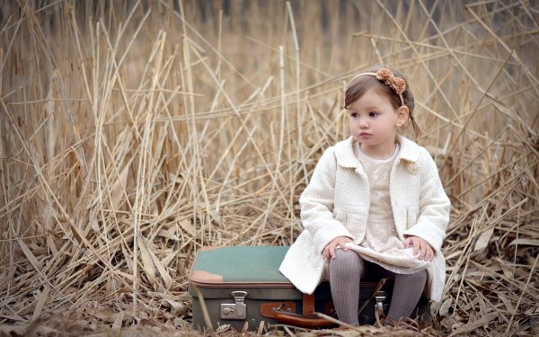 Photography Child Little Girl Suitcase HD Wallpaper | Background Image