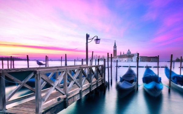 Man Made Venice Cities Italy Gondola Sunset Sky HD Wallpaper | Background Image