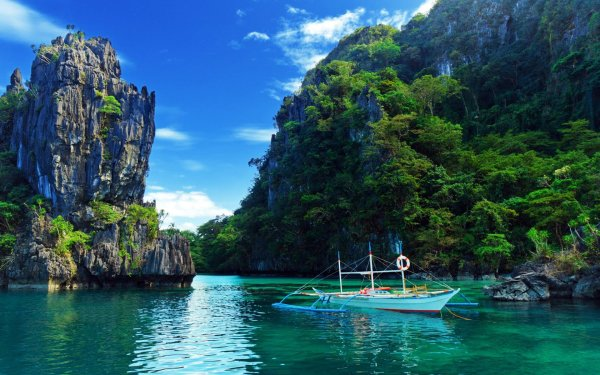Vehicles Boat Earth Thailand Ocean Rock HD Wallpaper | Background Image