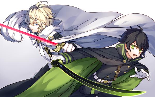 Anime Seraph of the End Yūichirō Hyakuya Mikaela Hyakuya Weapon Sword Katana Black Hair Blonde Green Eyes Blue Eyes Uniform Glove Belt Cape Glow HD Wallpaper | Background Image