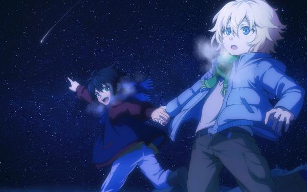 Anime Seraph of the End Yūichirō Hyakuya Mikaela Hyakuya Night Sky Stars Blue Eyes Green Eyes Blonde Black Hair Scarf Starry Sky HD Wallpaper | Background Image
