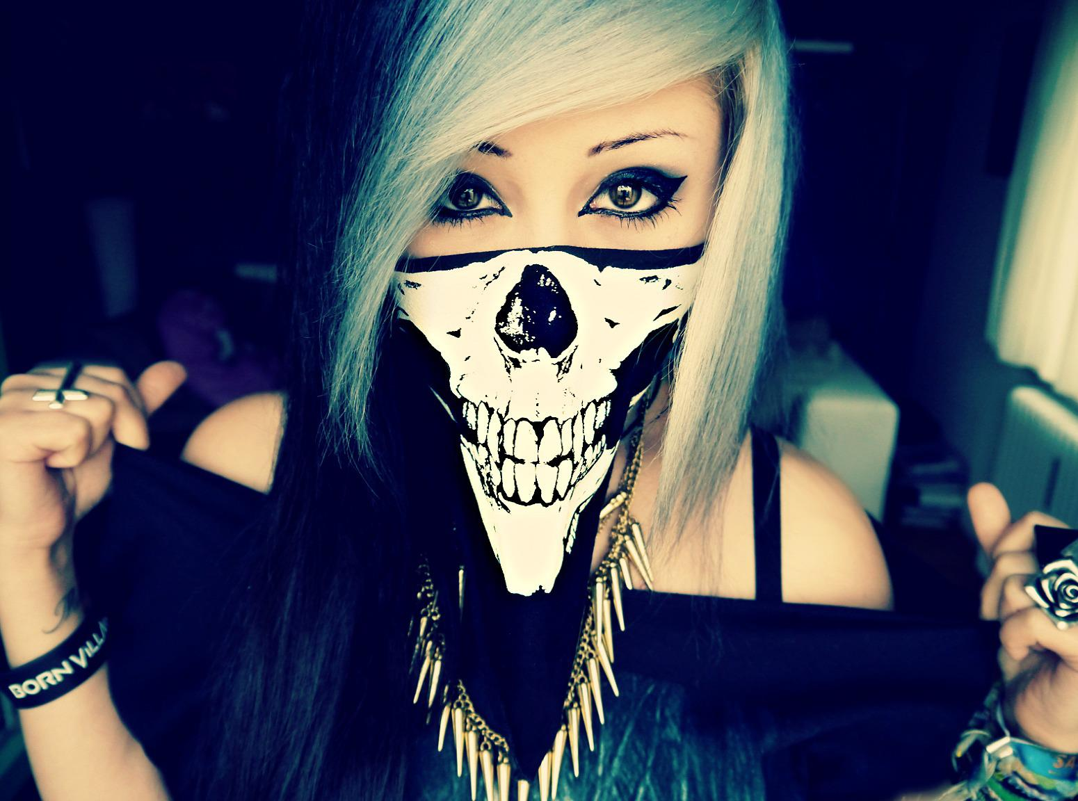 emo girl skull wallpaper and background image 1550x1152