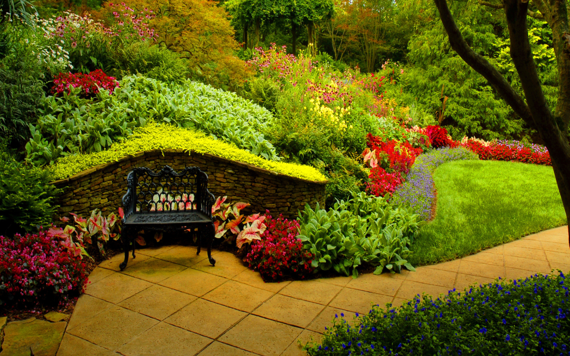 Bench in spring park full hd wallpaper and background for Au jardin secret