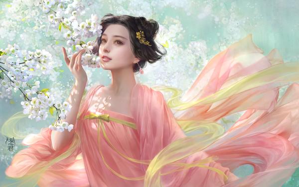 Fantasy Women Asian Pink Blossom White Flower HD Wallpaper | Background Image