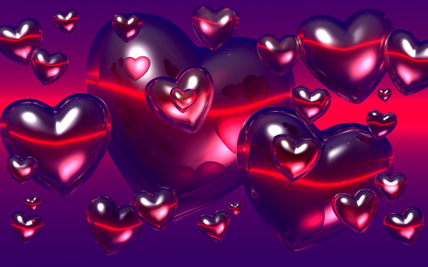 Holiday Valentine's Day Heart Red Floating Love HD Wallpaper | Background Image