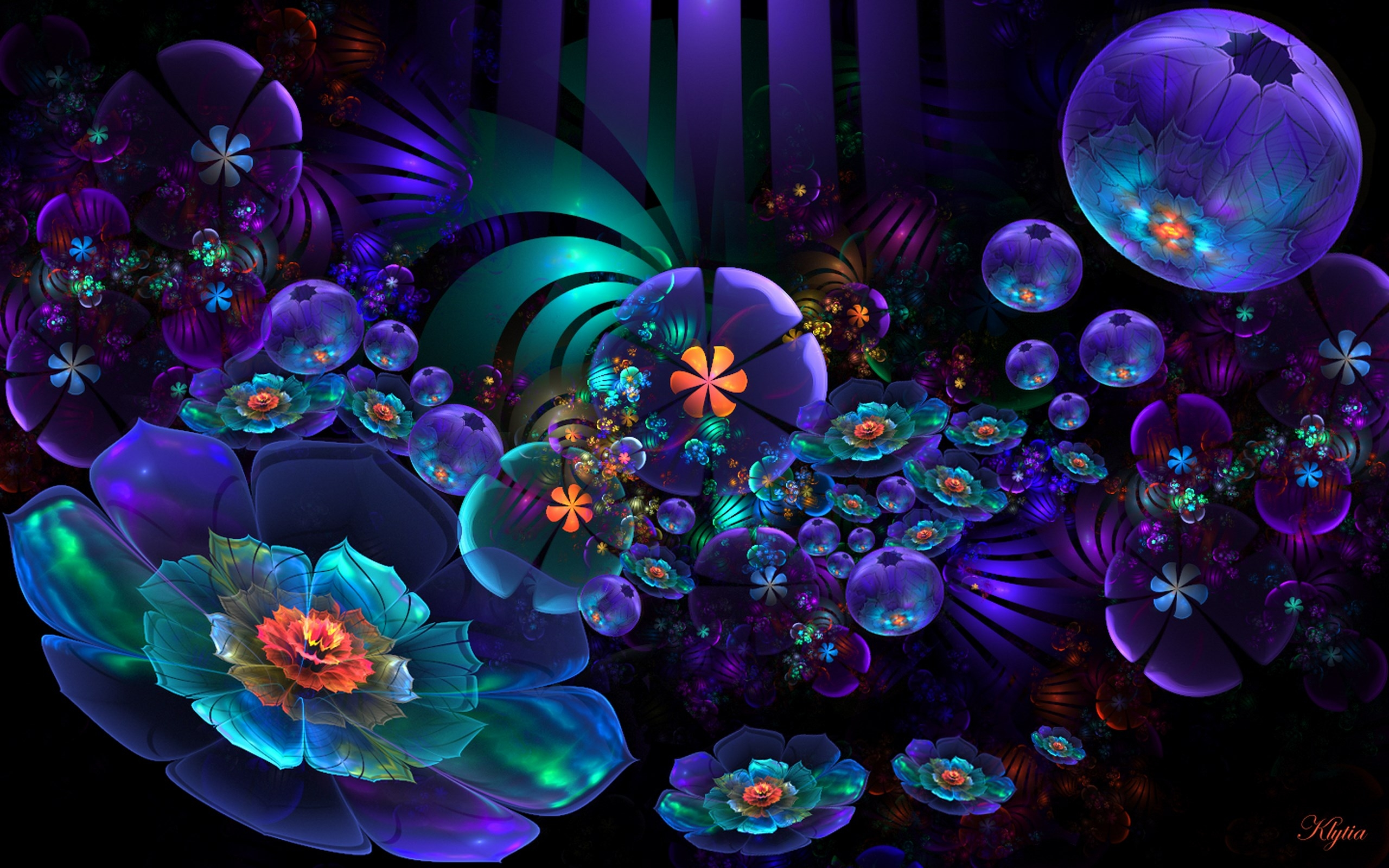 Neon Flower Abstract Full HD Wallpaper And Background Image