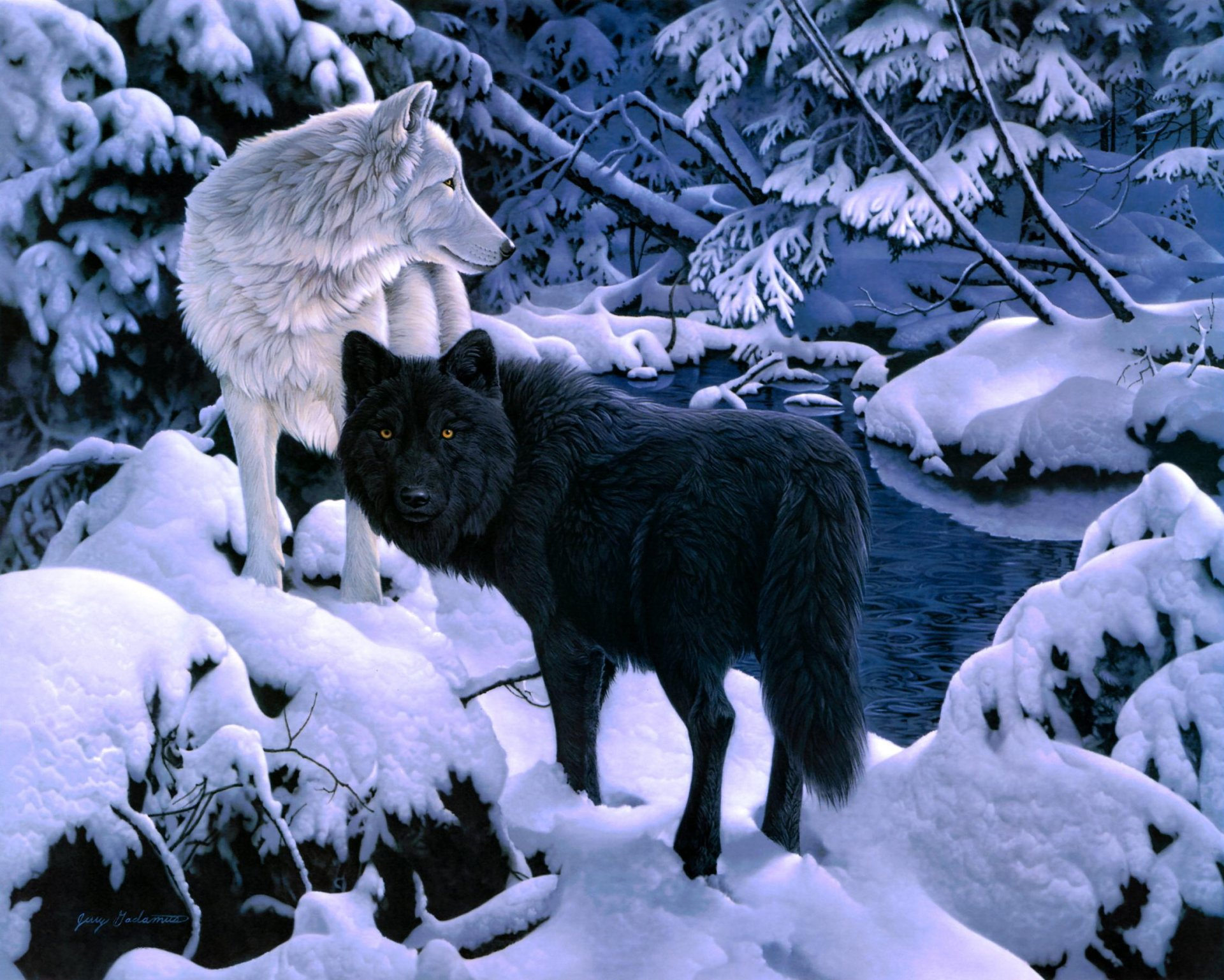 Animal - Wolf  Snow Tree Forest Winter Artistic Wallpaper