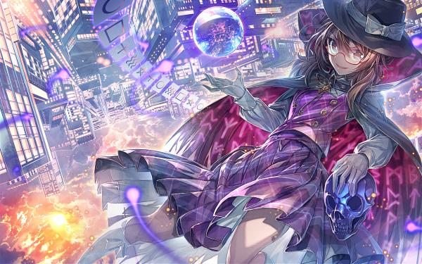 Anime Touhou Skull Hat Skirt Glasses Cape Sumireko Usami HD Wallpaper | Background Image