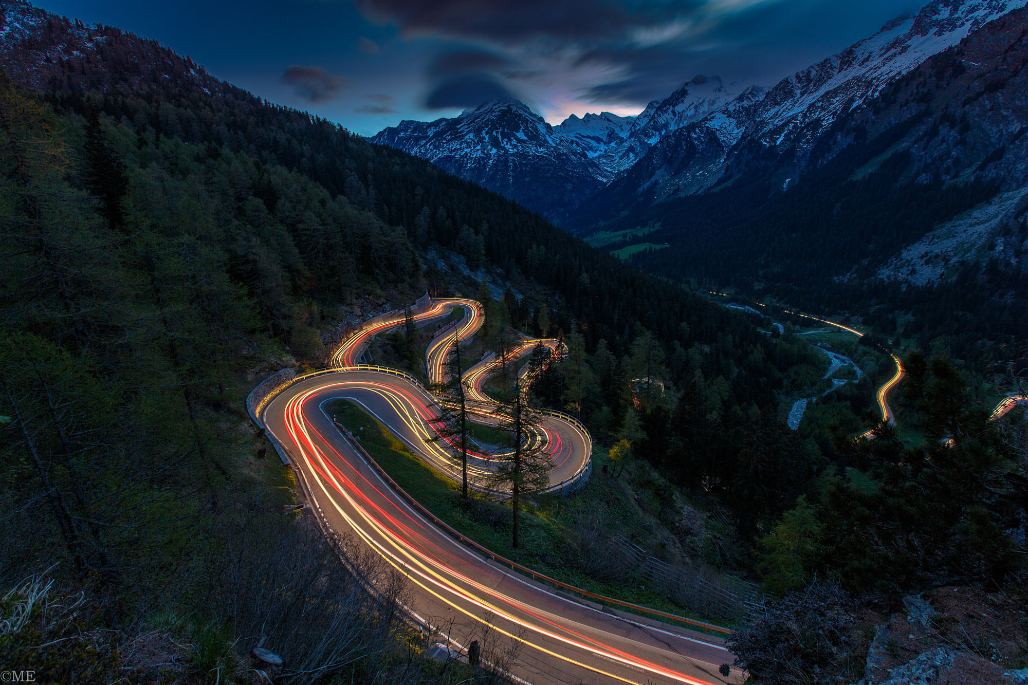 Mountain Road At Night Hd Wallpaper Background Image 2000x1333