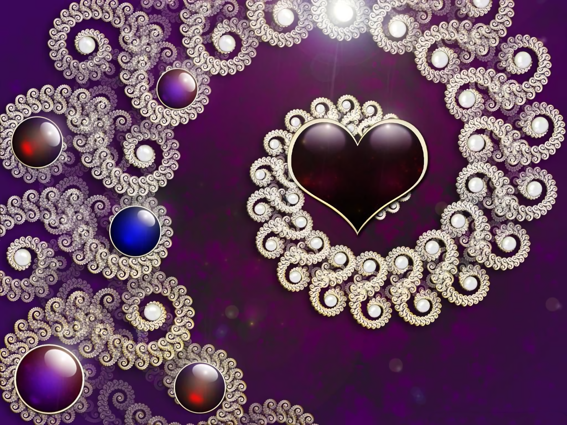 Artistic - Heart  Abstract Design Silver Jewelry Wallpaper