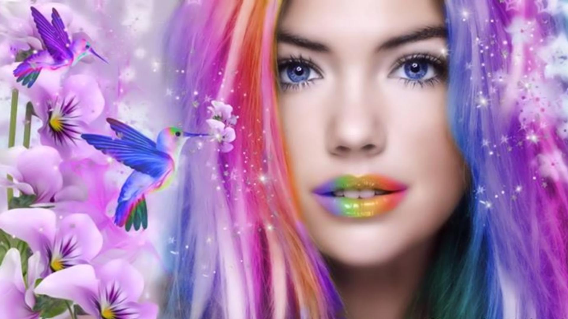 Fantasy - Women  Fantasy Woman Girl Colors Colorful Flower Hummingbird Blue Eyes Lipstick Face Wallpaper