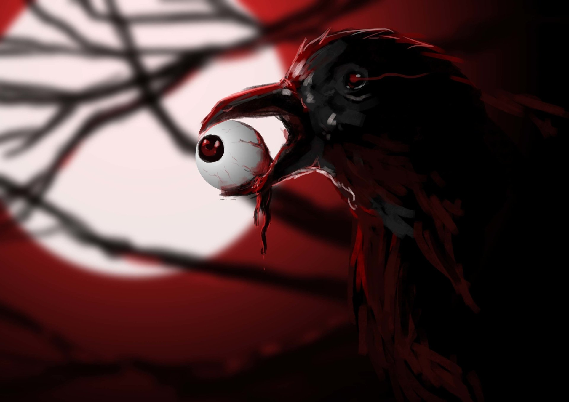 Raven with eyeball hd wallpaper background image - Dark horror creepy wallpapers ...