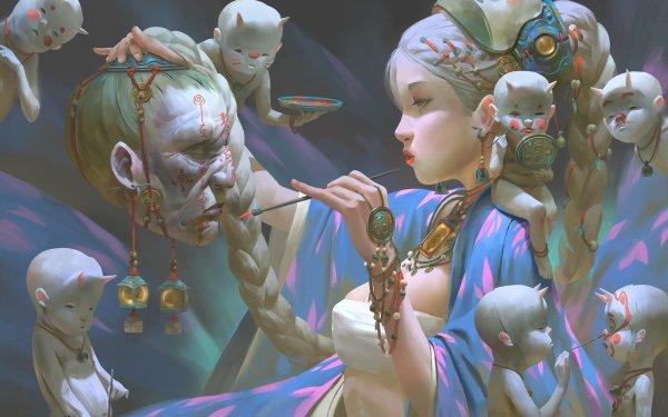 Fantasy Women Braid Creature Head HD Wallpaper   Background Image
