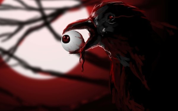 Dark Creepy Raven Bird Eyeball Blood Scary HD Wallpaper | Background Image