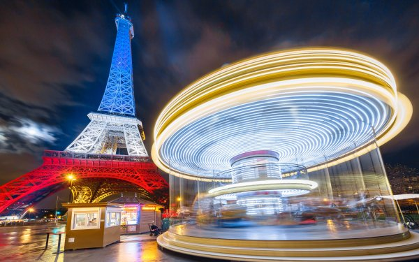 Man Made Eiffel Tower Monuments Night Time-Lapse Carrousel Paris French Flag Light HD Wallpaper | Background Image