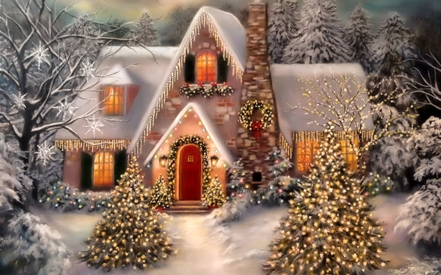 House Decorated For The Holidays Fondo De Pantalla And Fondo