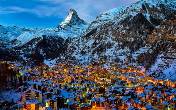 Man Made Zermatt Towns Switzerland Alps City Night Light HD Wallpaper   Background Image