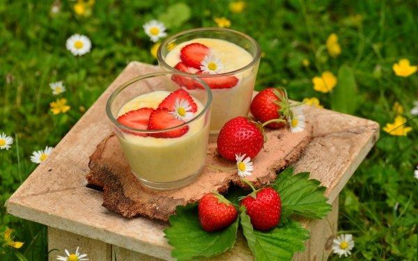 Food Dessert Strawberry Glass Leaf Sweets Flower HD Wallpaper | Background Image