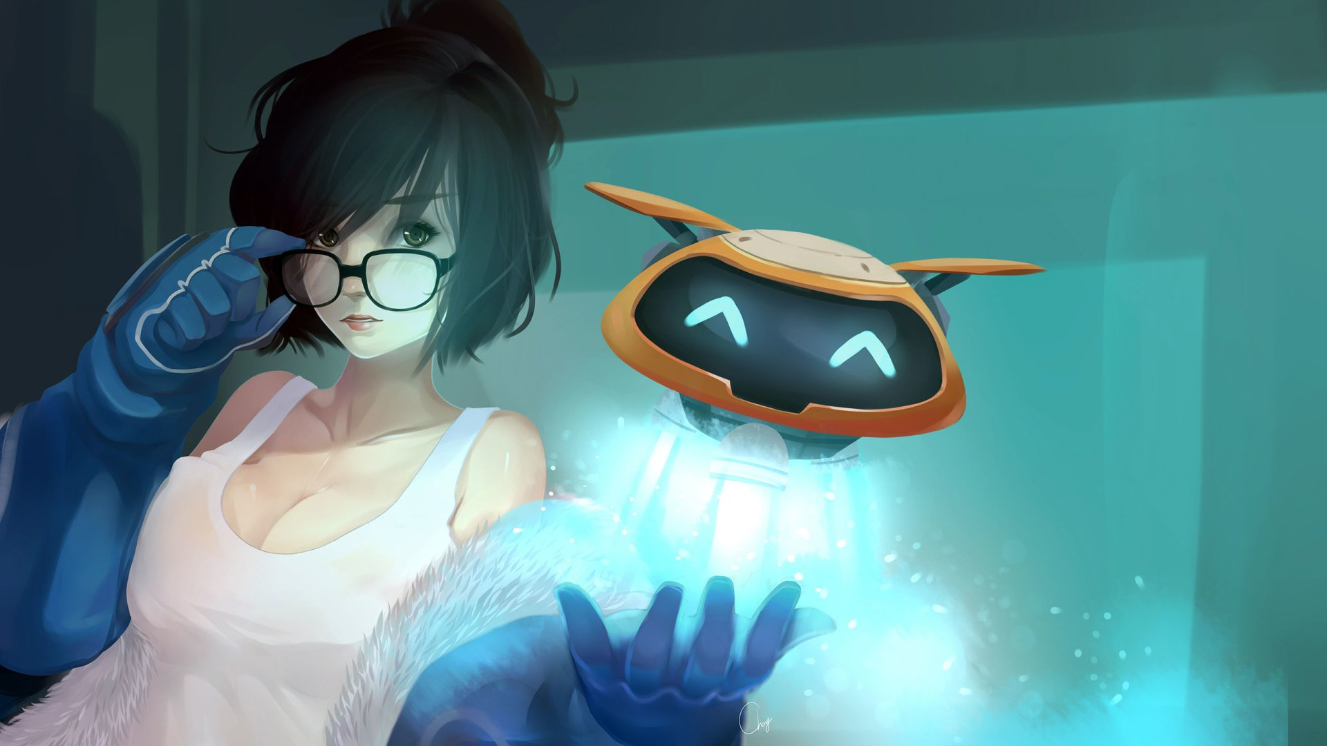 Video Game - Overwatch  Mei (Overwatch) Long Hair Black Hair Glasses Black Eyes Glove Robot Wallpaper