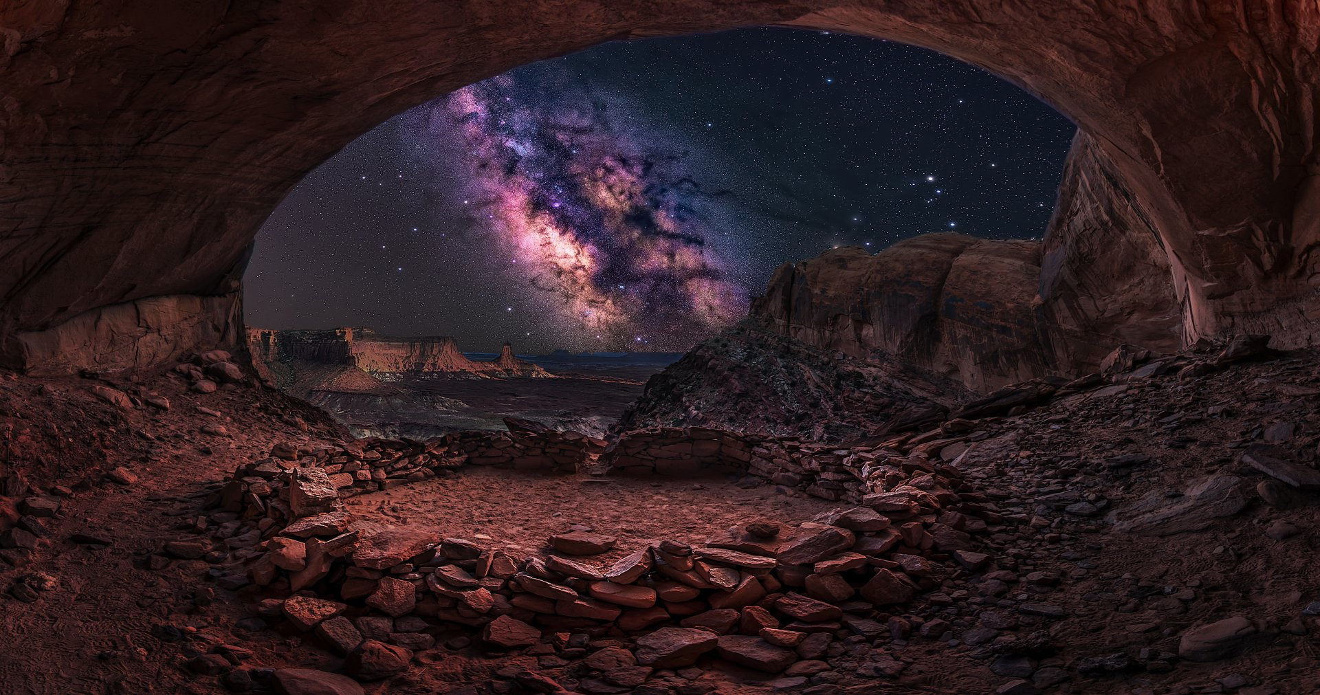 Earth - Cave  Earth Ocean Sea Milky Way Galaxy Starry Sky Night Wallpaper