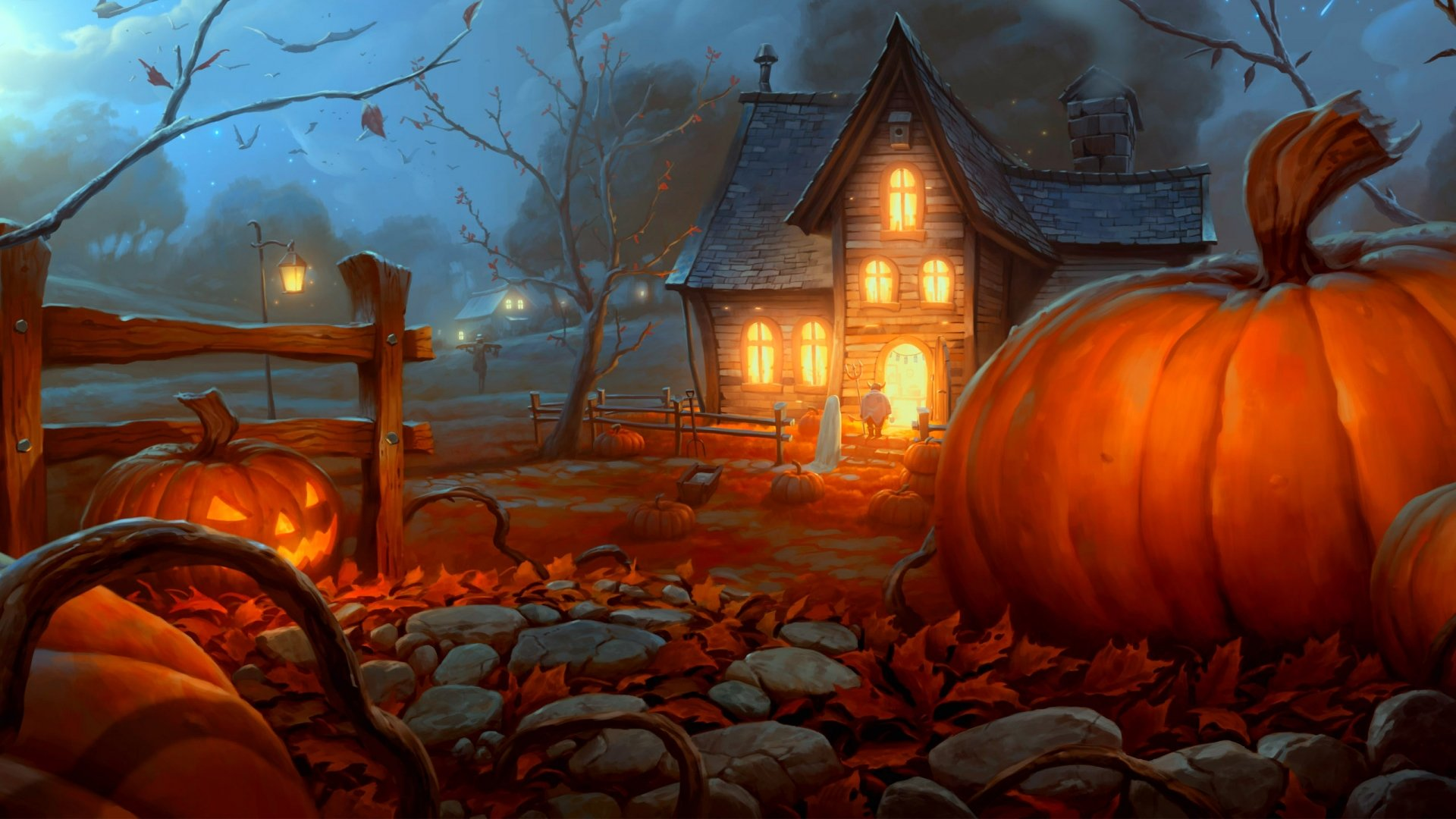 Halloween Country House HD Wallpaper