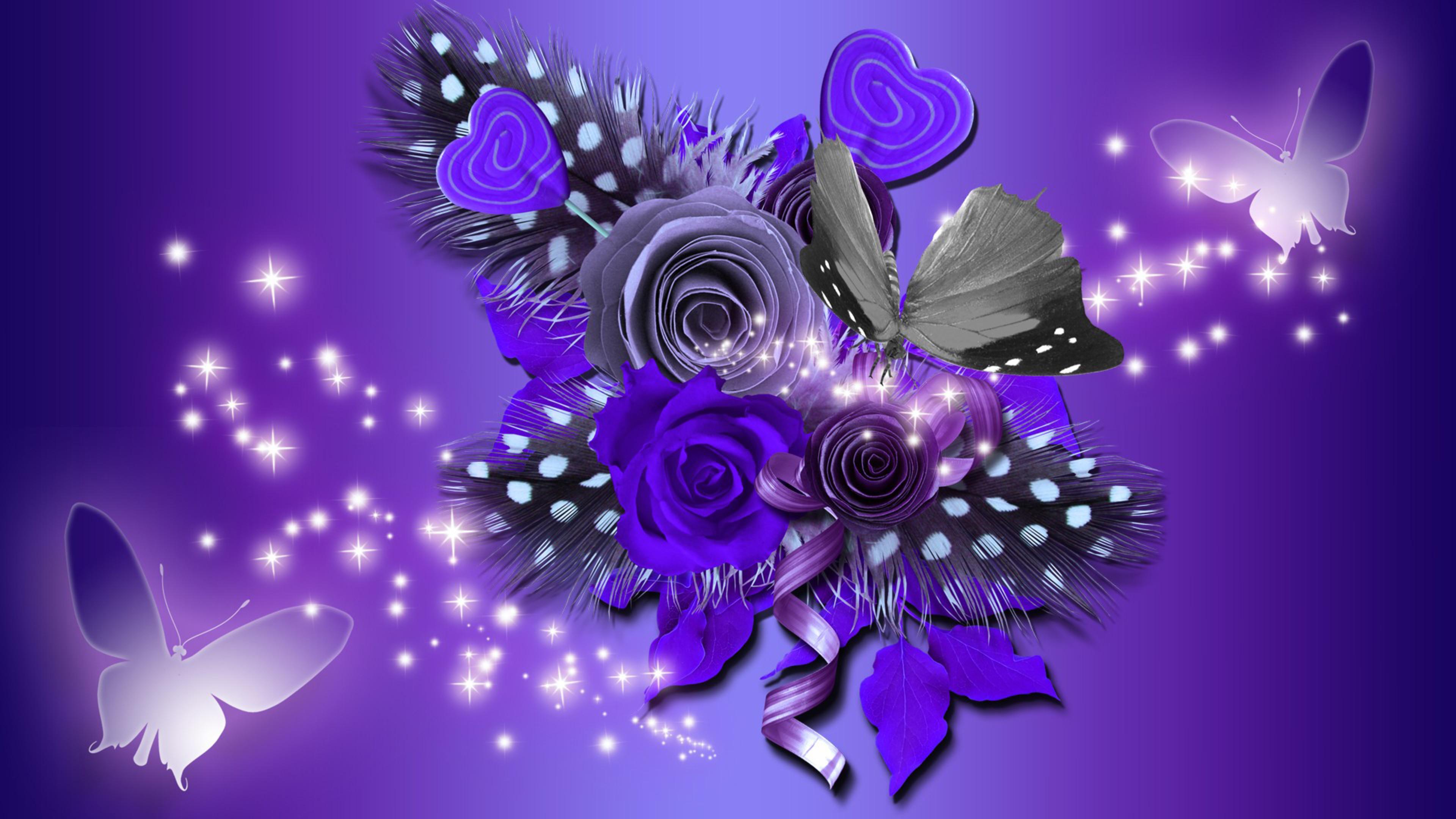 Purple Flowers And Butterflies 4k Ultra Hd Wallpaper Background